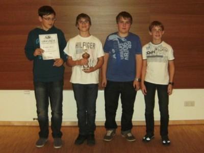 2. Platz: SK Kelheim 1920von links: Fabian Liebisch, Leon Schwab, Cornelius Mühlich, Tobias Schindler